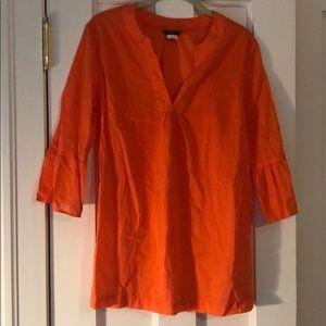 J crew orange coverup tunic, S